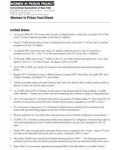 Women In Prison Fact Sheet